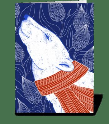 Polar Bear NOEL stripes greeting card