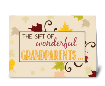 Grandparents Day Gift with Leaves greeting card