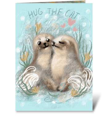 Cute little seals greeting card