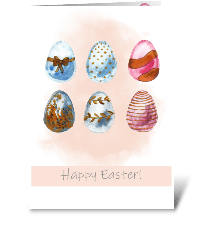 Easter card with easter eggs greeting card