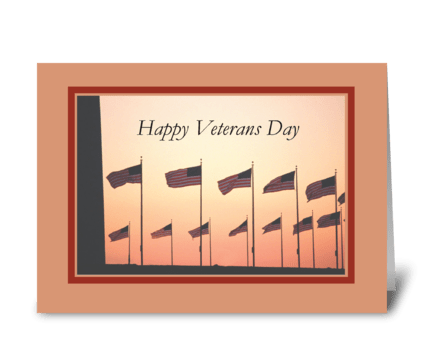 Veterans Day, Flags at Sunset  greeting card