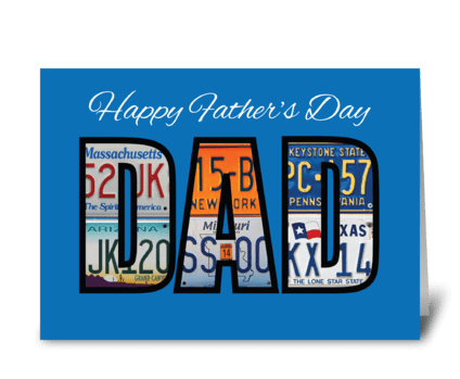 Happy Father's Day License Plates greeting card