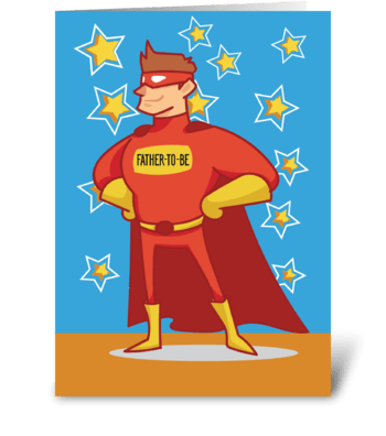 Father-to-be Superhero on Father's Day greeting card