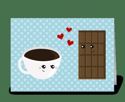 Coffee & Chocolate Love greeting card