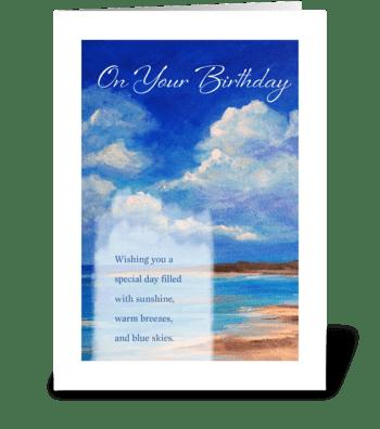 Birthday - Beach & Blue Skies greeting card