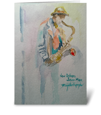 New Orleans Jazz Man greeting card