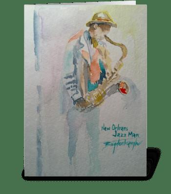 New Orleans Jazz Man greeting card