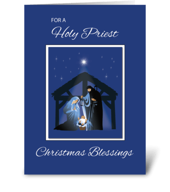Priest Christmas Blessings, Nativity greeting card