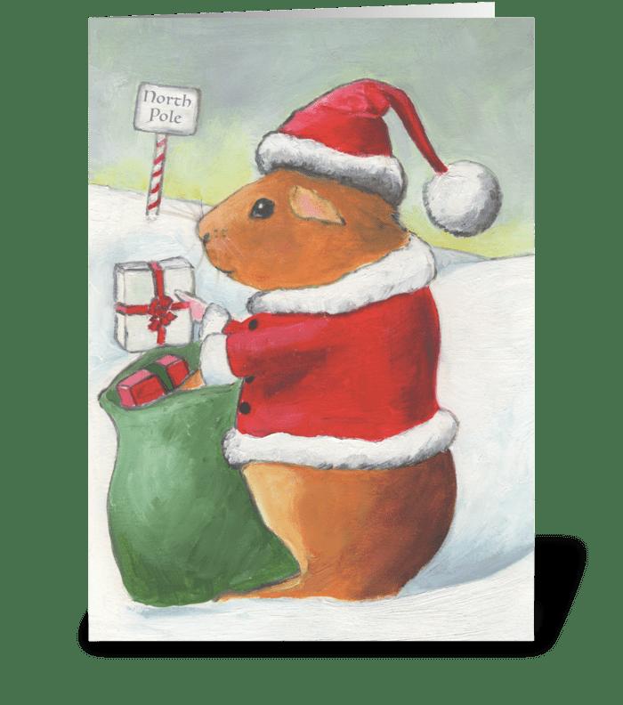 Guinea Pig Christmas greeting card