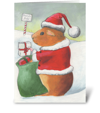 Guinea Pig Christmas greeting card