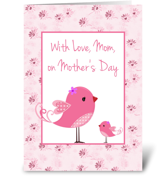 Pink Birds Mothers Day Card greeting card