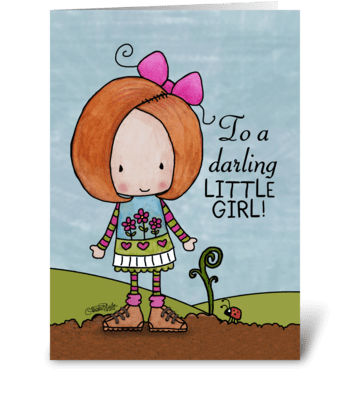 Auburn Hair Birthday Girl Little Sprout greeting card