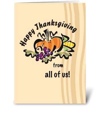 Thanksgiving Pumpkin, From All of Us greeting card