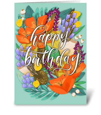 Bright Floral Happy Birthday greeting card