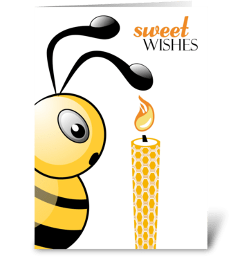 Bee and Birthday Candle - Happy Birthday greeting card