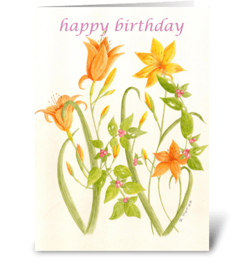 Glorious Orange Flowers greeting card