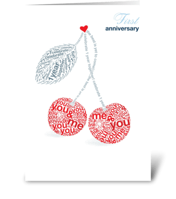 First Anniversary greeting card