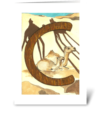 C for Camel greeting card