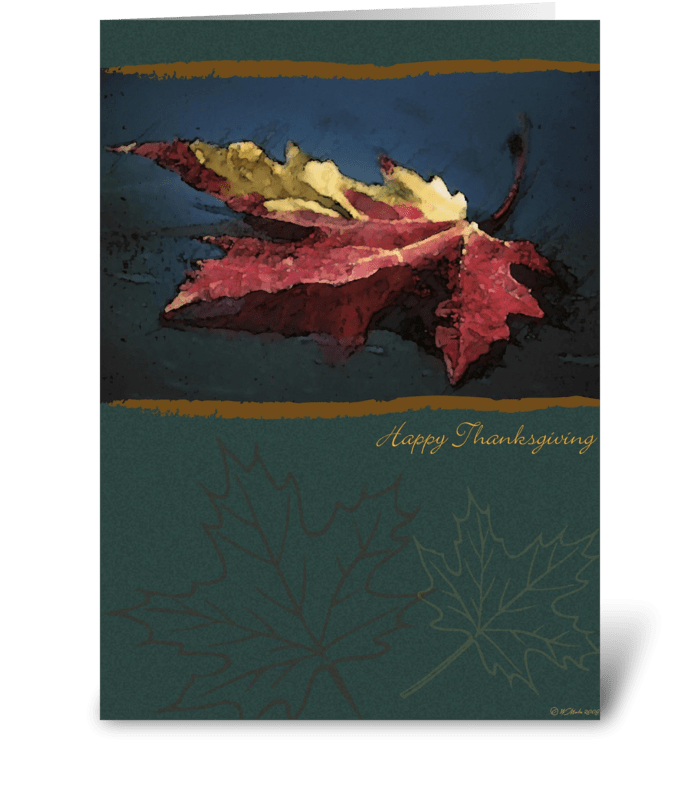 Red Fall Leaf Thanksgiving Card greeting card