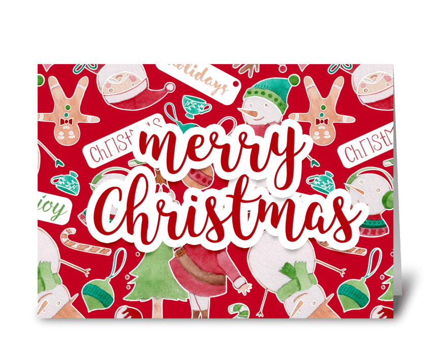 Merry Christmas watercolor santa card greeting card