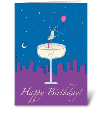 Champagne Mouse Birthday greeting card