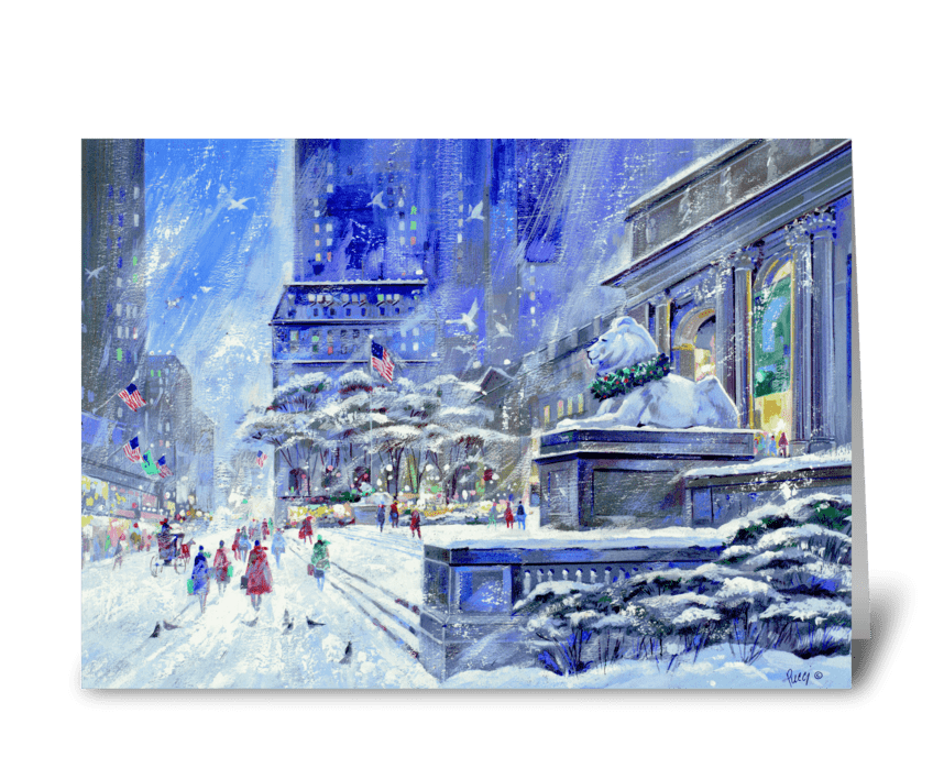 New York Public Library by Albert Pucci greeting card