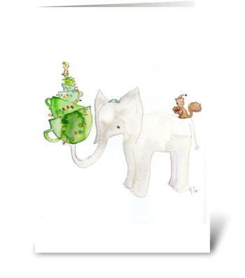 White Elephant Holiday Card greeting card
