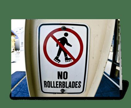 No Rollerblades greeting card