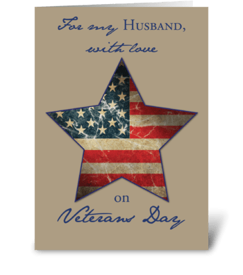 Husband, Happy Veterans Day, Old Flag greeting card