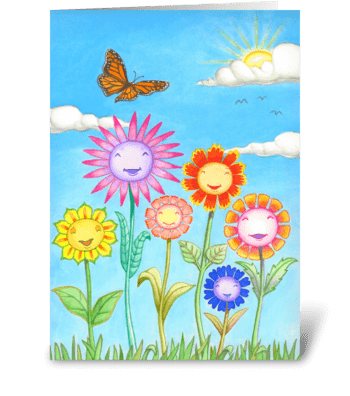 Smiling flowers greeting card