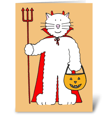 Halloween cat with pumpkin lantern. greeting card