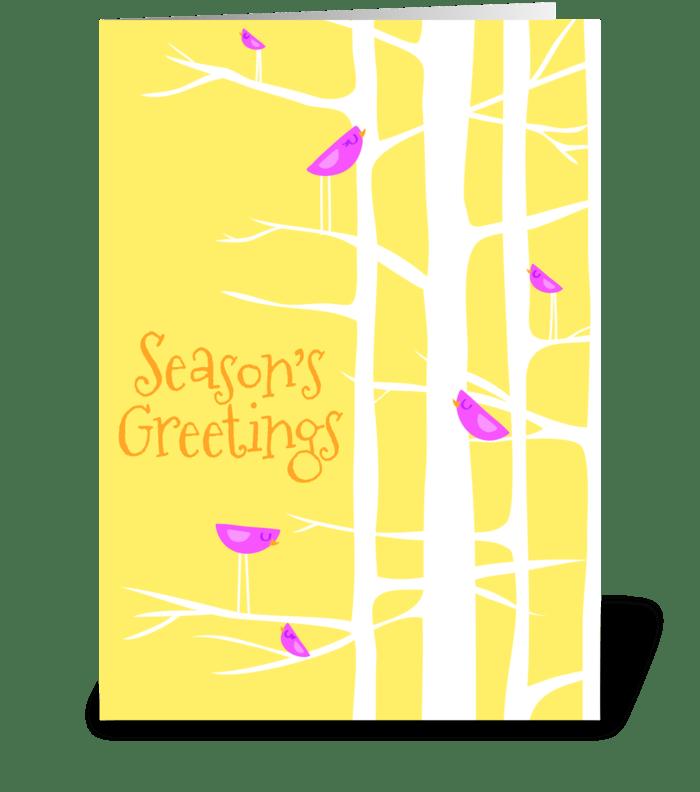 Winter Wonderland Trees in Yellow greeting card