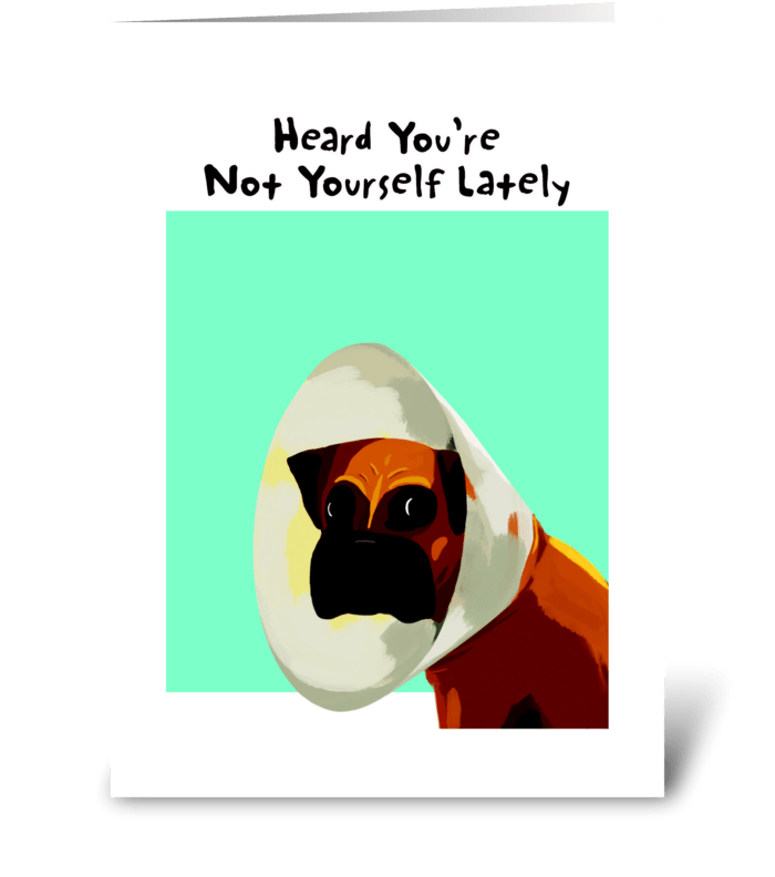 Boxer Cone Get Well greeting card