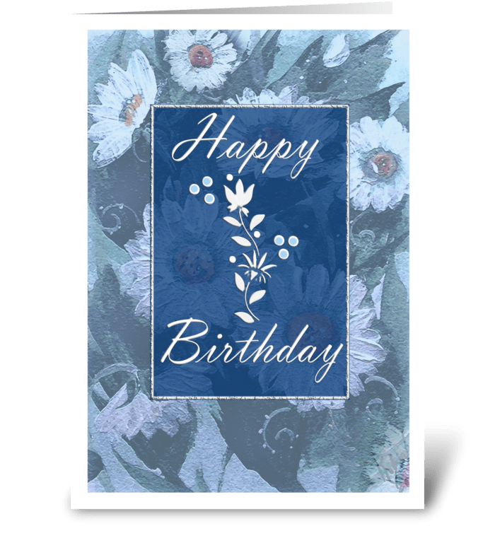 Blue Daisies, Birthday greeting card
