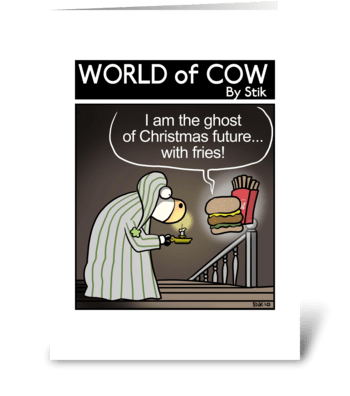 A Cow's Christmas Future greeting card