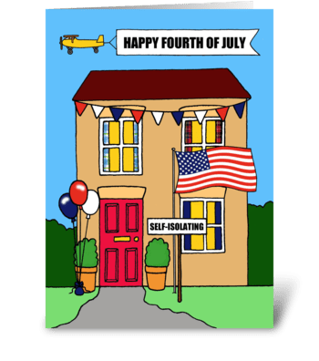 Happy 4th of July, Coronavirus Cartoon. greeting card