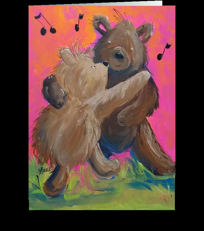 Waltzing Bears greeting card