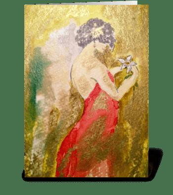 The White Poinsettia  greeting card
