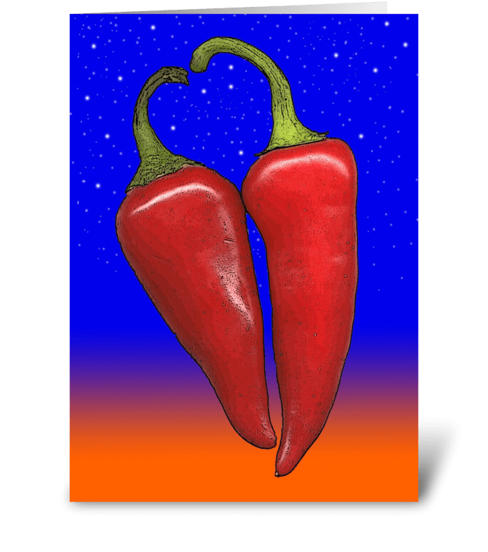 Hot Pepper Love greeting card