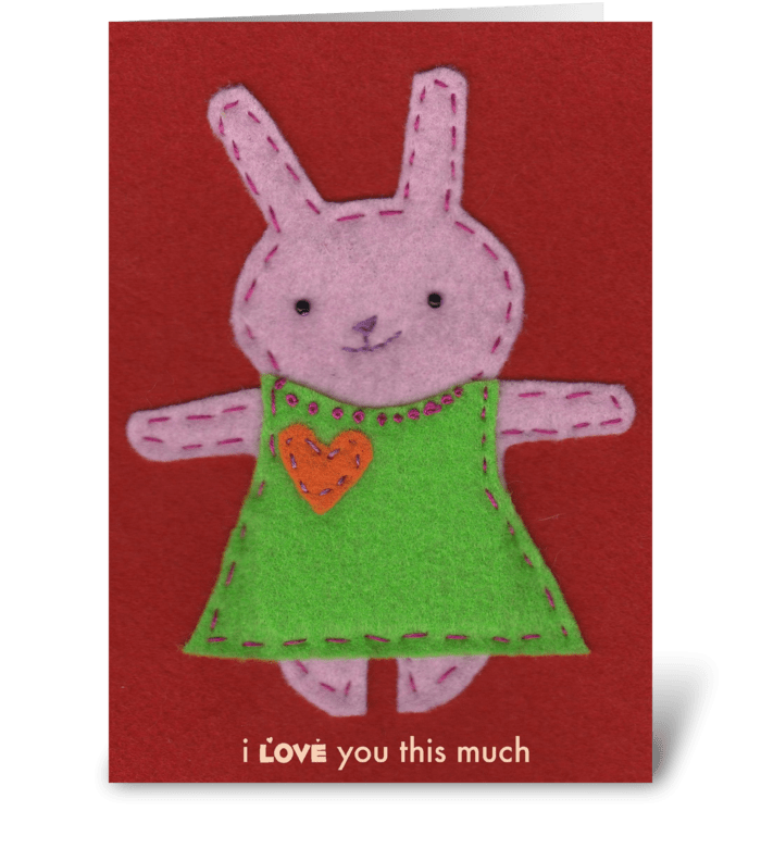 Pink Bunny Love greeting card