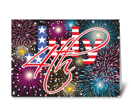 Fireworks of July greeting card