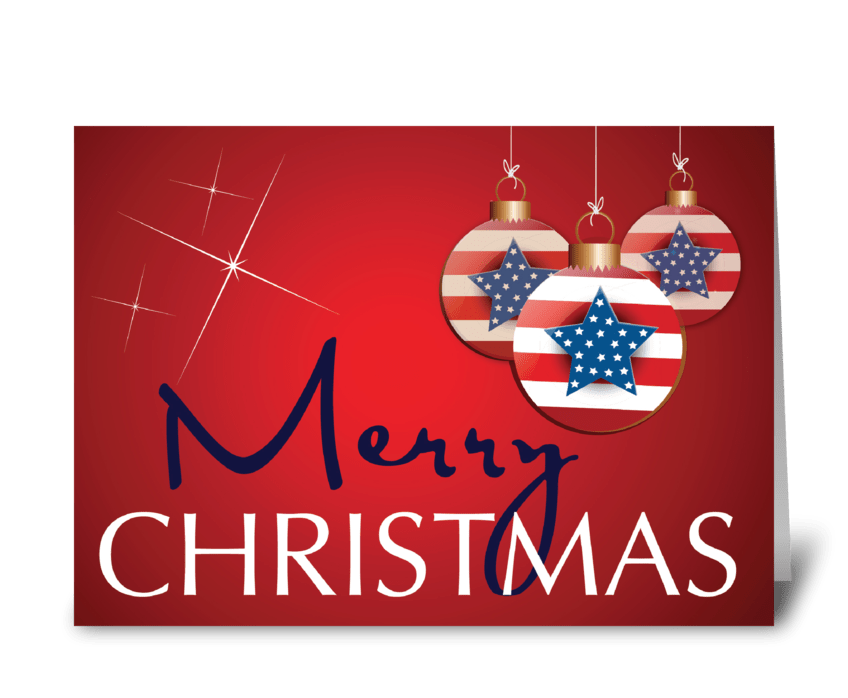 Stars and Stripes Patriotic Christmas greeting card