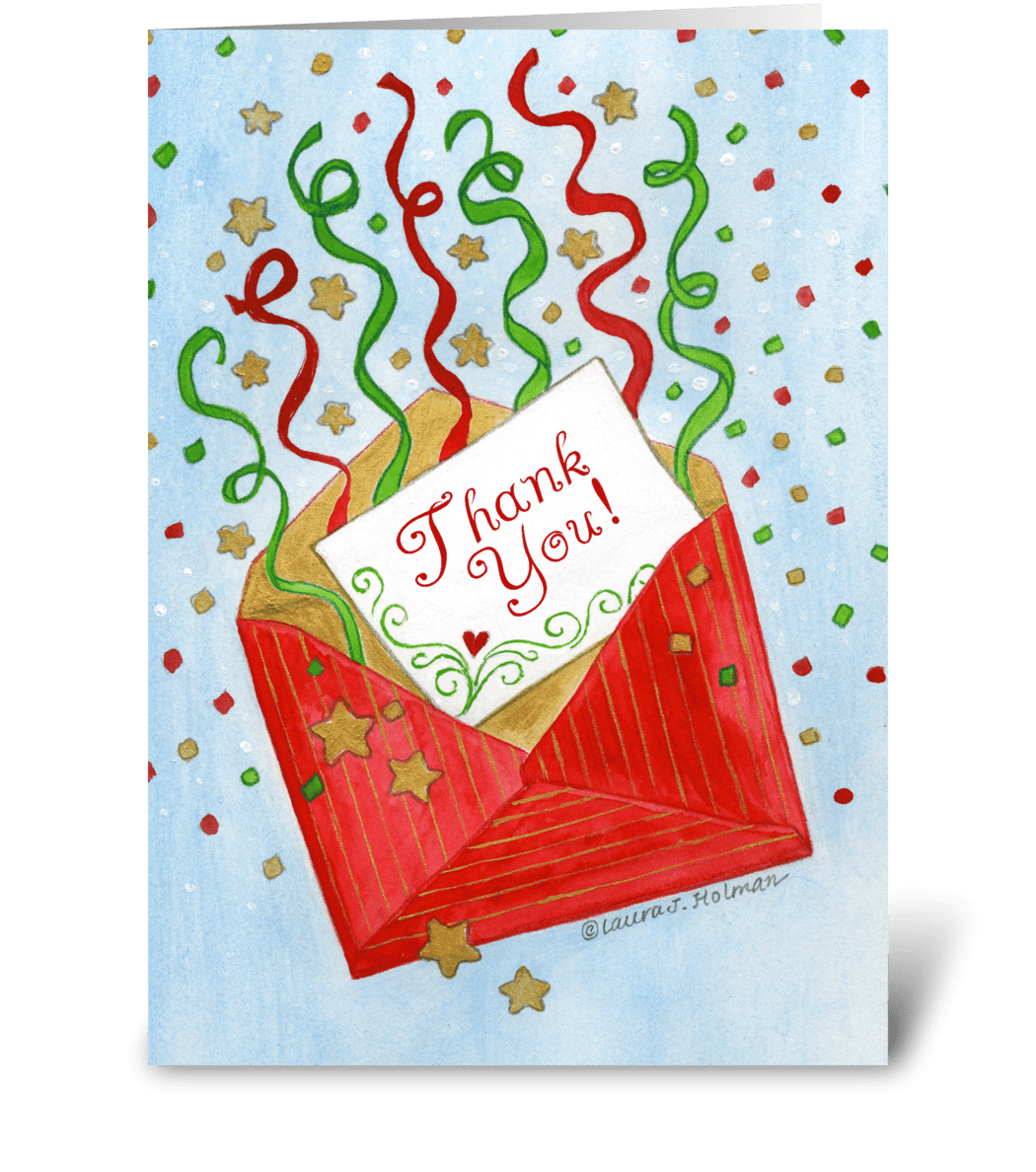 Christmas Gift Red Envelope Thank You Send This Greeting Card Designed By The Art Of Laura J Holman Card Gnome