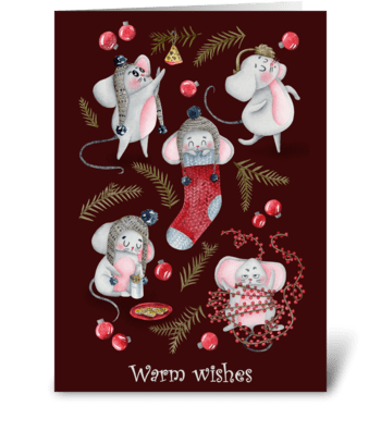 Holiday Mouse Fun/ red greeting card