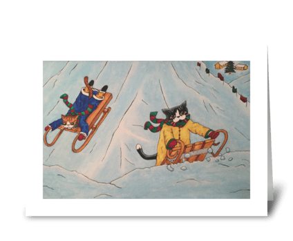 Christmas Festive Sledging Cats greeting card