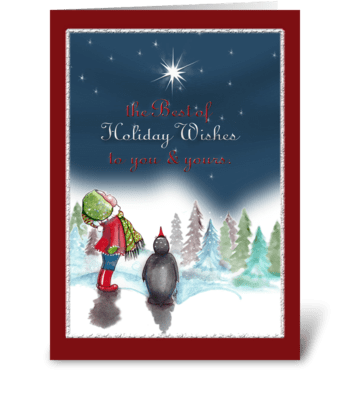 Little Girl With Penguin, Holiday Card greeting card