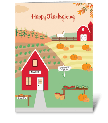 Thanksgiving Fall on the Farm greeting card