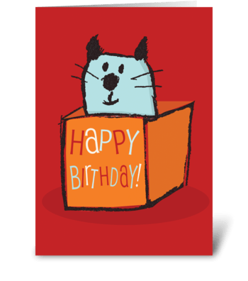 Cat in a Birthday Box  greeting card