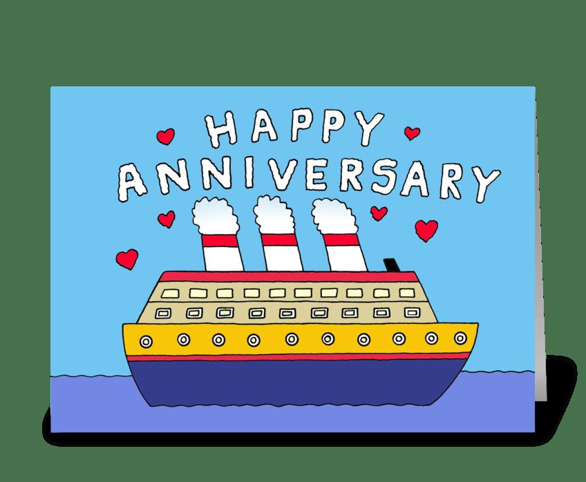 Happy Anniversary, Cartoon Cruise Ship. greeting card