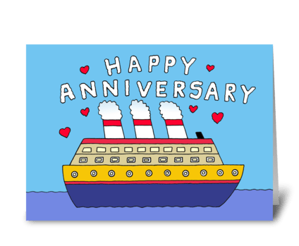 Happy Anniversary, Cartoon Cruise Ship. greeting card